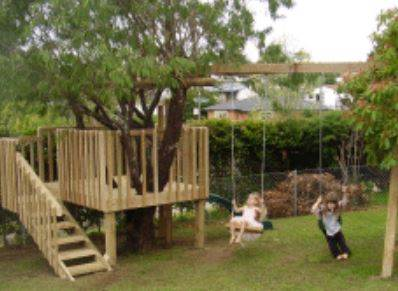 Tree House Fort and Swing Set