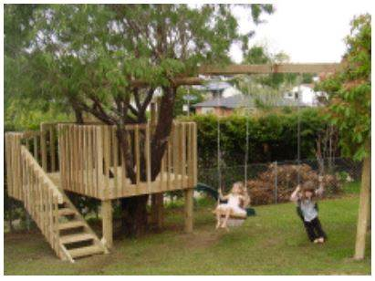 Kid's Treehouse with Swing Set