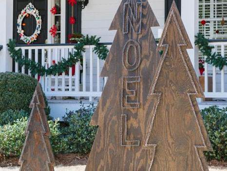 Wooden Christmas Trees Homemade Yard Art